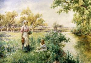 Picking Posies by the River by Alfred Augustus Glendenning