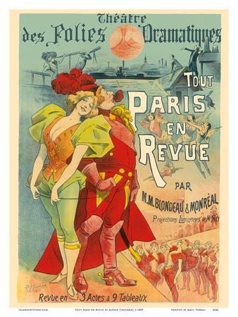 All Paris in the Revue - Theatre des Folies Dramatiques - by M.M Blondeau & Monréal