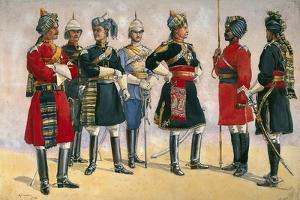 British Officers, Indian Army, Illustration for 'Armies of India', Published in 1911, 1910 by Alfred Crowdy Lovett