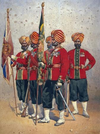 Soldiers of the 15th Ludhiana Sikhs, Illustration for 'Armies of India' by Major G.F. MacMunn,…