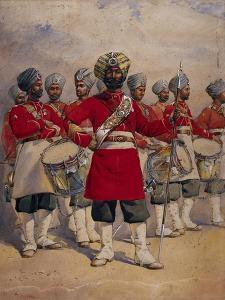 Soldiers of the 45th Rattray's Sikhs 'The Drums' Jat Sikhs, Illustration for 'Armies of India' by… by Alfred Crowdy Lovett