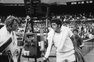 1971 Wimbledon: Australia's Rod Laver (L) and U.S.A Tom Gorman on Centre Court after their Match by Alfred Eisenstaedt