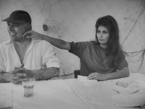 Actress Sophia Loren and Husband, Movie Producer Carlo Ponti Dining at Restaurant by Alfred Eisenstaedt