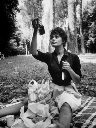 """Actress Sophia Loren Examining Contents of Bottle During Location Filming of """"Madame Sans Gene"""" by Alfred Eisenstaedt"""