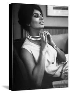 Actress Sophia Loren Fingering Her Pearl Necklace by Alfred Eisenstaedt