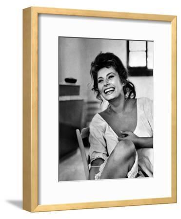 Actress Sophia Loren Laughing While Exchanging Jokes During Lunch Break on a Movie Set