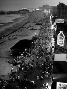 Aerial at Dusk of Beach, Boardwalk and Pier of Resort and Convention City by Alfred Eisenstaedt
