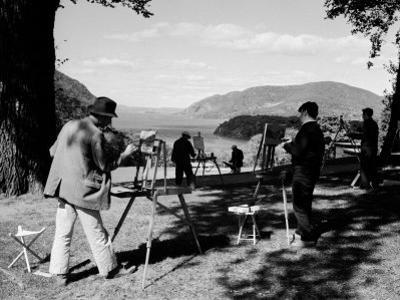 Amatuer Artists Painting Hudson River Landscape Scene