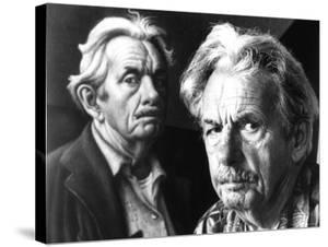 American Artist Thomas Hart Benton Posing Next to Self Portrait by Alfred Eisenstaedt
