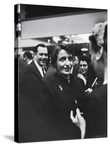 Author Ayn Rand Chatting with Admirers at National Book Awards by Alfred Eisenstaedt