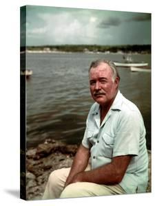 """Author Ernest Hemingway at Cuban Fishing Village Like the One in Book """"The Old Man and the Sea"""" by Alfred Eisenstaedt"""