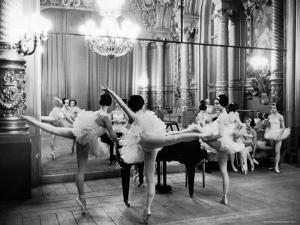 Ballerinas at the Paris Opera Doing Their Barre in Rehearsal Room by Alfred Eisenstaedt