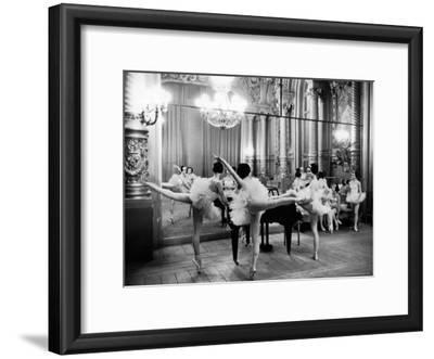 Ballerinas at the Paris Opera Doing Their Barre in Rehearsal Room