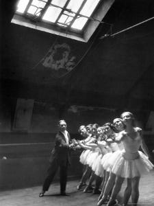 Ballet Master with Ballerinas Practicing Classic Exercise in Rehearsal Room at Grand Opera de Paris by Alfred Eisenstaedt