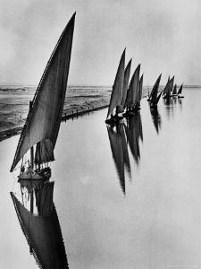 Boats Sailing Along Suez Canal by Alfred Eisenstaedt