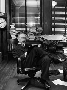 Civil War Historian and Local Newspaper Editor Douglas Southall Freeman Writing Copy in His Office by Alfred Eisenstaedt