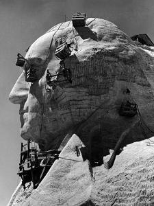 Construction of George Washington Section of Mt. Rushmore Monument by Alfred Eisenstaedt