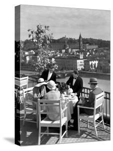Dining Outside at Restaurant on Roof of Excelsior Hotel by Alfred Eisenstaedt