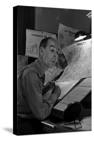 """Disney Animator-Artists Work on Sketches for """"Lady and the Tramp"""", Burbank, California, 1953"""