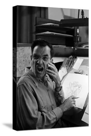 """Disney Artist Frank Johnson Works on a Drawing from """"Lady and the Tramp,"""" Burbank, CA, 1953"""