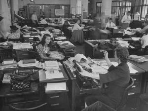 Editiorial Office of the Brooklyn Eagle Newspaper Where Staff Members are Busy in Newsroom by Alfred Eisenstaedt