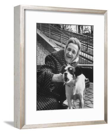 """Elderly Woman with Pet Dog """"Miquette"""" on Steps of Montmartre"""