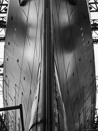Exact Front View Looking Up at the Hull of Oceanliner, America, Showing Depth Numbers by Alfred Eisenstaedt