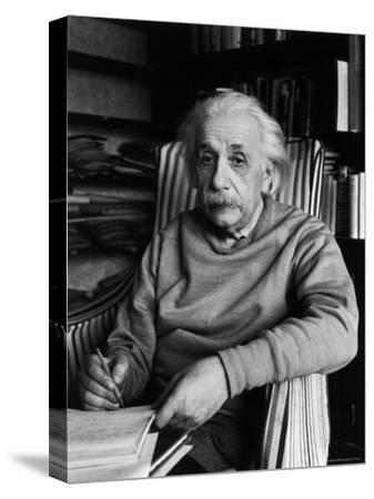 Famed Scientist Albert Einstein in His Study at Home