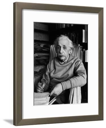 Famed Scientist Albert Einstein in His Study at Home