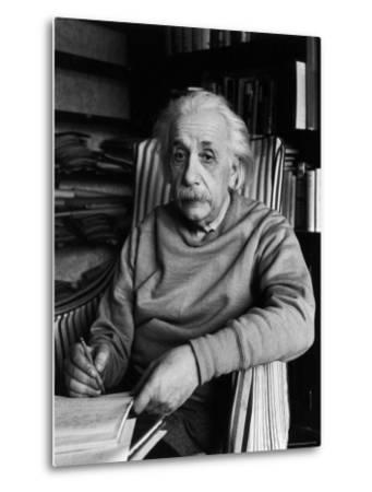 Famed Scientist Albert Einstein in His Study at Home by Alfred Eisenstaedt