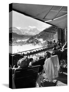 Guests at Fashionable Winter Resort Napping and Sunbathing on Hotel Terrace after Lunch by Alfred Eisenstaedt