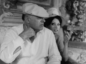 Italian Movie Dir. Carlo Ponti and His Actress Wife Sophia Loren Outside Villa by Alfred Eisenstaedt