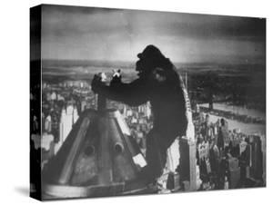 King Kong Clinging to Top of Empire State Building Tower in Horror Movie with Fay Wray in His Hands by Alfred Eisenstaedt