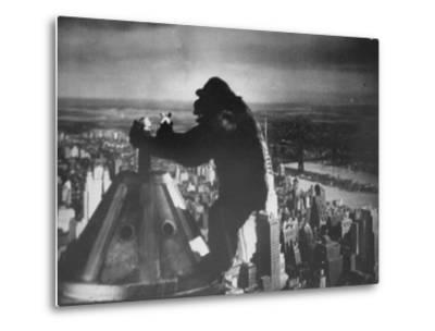 King Kong Clinging to Top of Empire State Building Tower in Horror Movie with Fay Wray in His Hands
