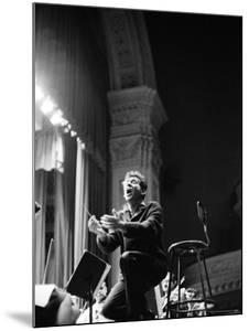 Leonard Bernstein Conducting Mahler's Symphony During NY Philharmonic Rehearsal at Carnegie Hall by Alfred Eisenstaedt