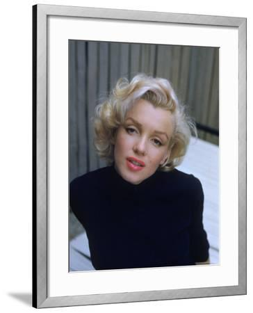 Marilyn Monroe on Patio Outside of Her Home