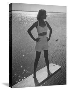 Model Tee Matthews Wearing Two Piece Bathing Suit by Jantzen by Alfred Eisenstaedt