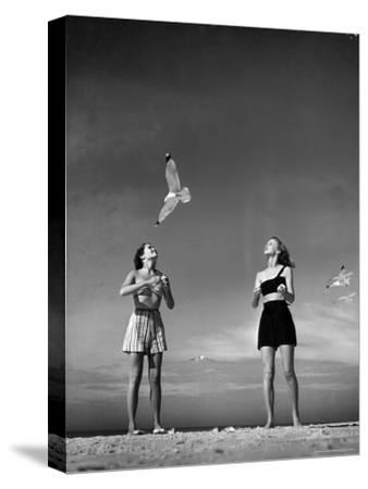 Models Tee Matthews and Bobbie Chambliss Feeding Gulls While Modeling New Bathing Suit Styles