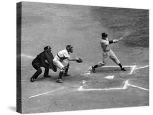 New York Yankee Joe Di Maggio Swinging Bat in Game Against the Philadelphia Athletics by Alfred Eisenstaedt