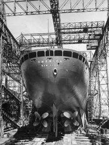 Ocean Liner America in Shipyard Prior to Launch by Alfred Eisenstaedt