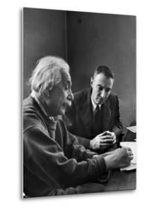 Physicist J. Robert Oppenheimer Discusses Theory of Matter with Famed Physicist Dr. Albert Einstein by Alfred Eisenstaedt