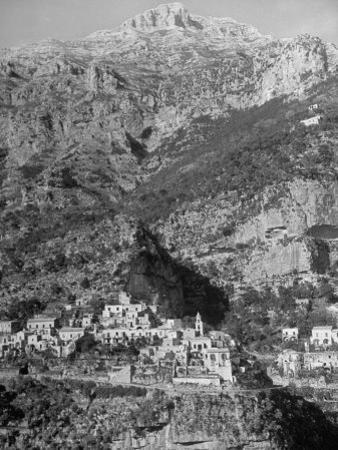 Picturesque Fishing Town on Side of Mountain on the Sorrento Peninsula, South of Amalfi