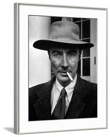 Portrait of American Physicist J. Robert Oppenheimer Wearing a Porkpie Hat and Smoking a Cigarette
