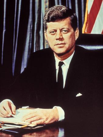 "Portrait of President John F. Kennedy, from the TV Show, ""JFK Assassination as It Happened"""