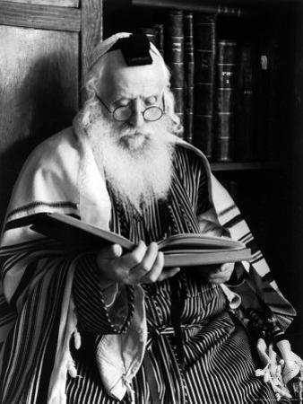 Rabbi Joshua Heshil Holtovski, Leader of the Karlin Chassidic Sect, Praying by Alfred Eisenstaedt