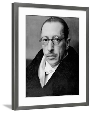 Russian Composer Igor Stravinsky, Wearing Tux, White Tie and Overcoat, on Night of a Performance