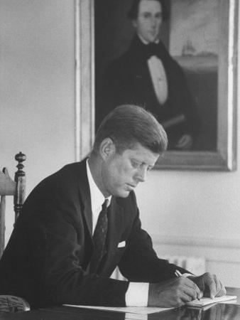 Senator John F. Kennedy in His Office after Being Nominated for President at Democratic Convention