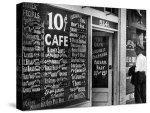 Sign Outside Luncheonette on Skid Row by Alfred Eisenstaedt