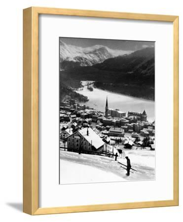 Snow-Covered Winter-Resort Village St. Moritz