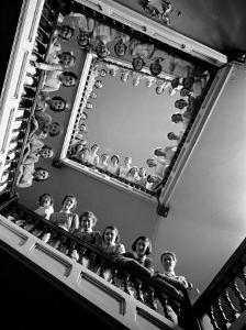 Student Nurses Lining the Railings of Stairwell at Roosevelt Hospital by Alfred Eisenstaedt